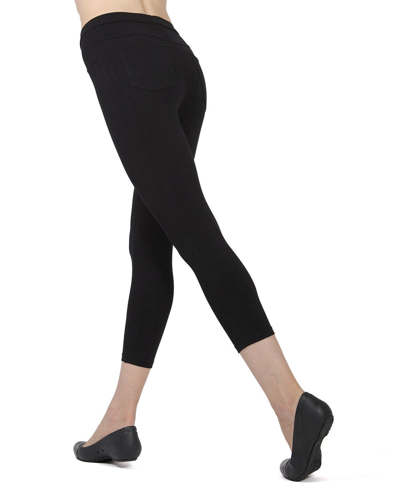 Memoi Black (3) Liscia French Terry Capri | Women's Hosiery - Premium Capri Leggings