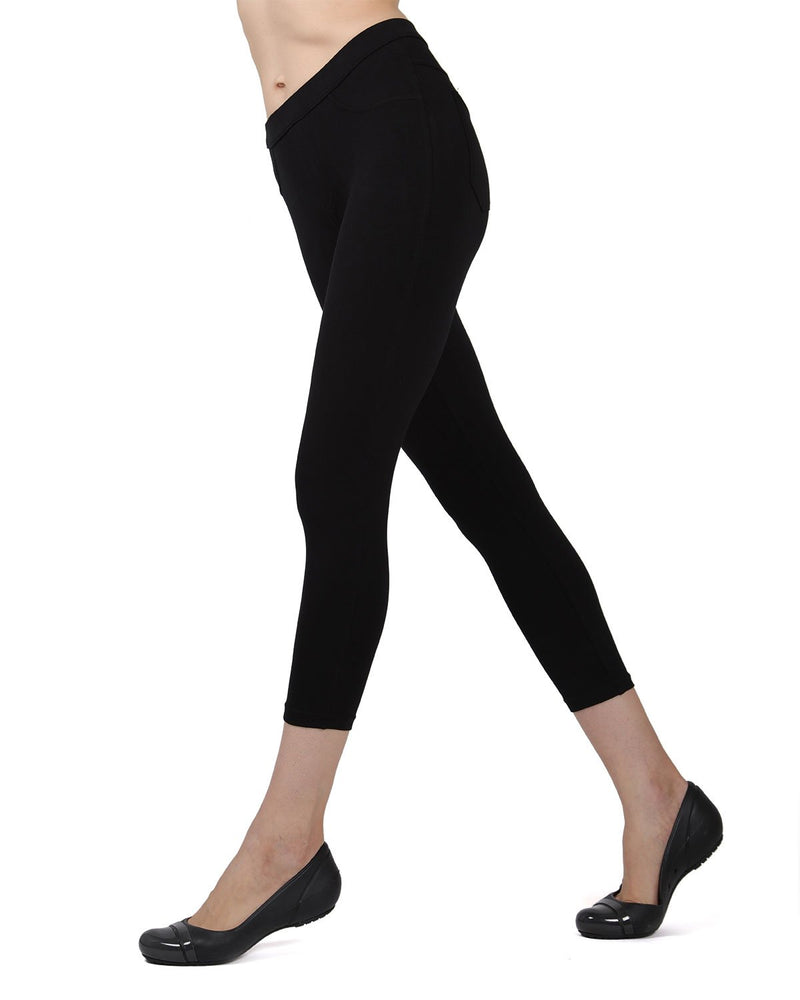 Memoi Black Liscia French Terry Capri | Women's Hosiery - Premium Capri Leggings