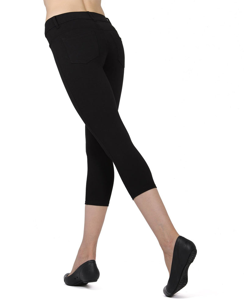 Memoi Black (2) Light Ponte Capri Leggings | Women's Hosiery - Premium Capri Leggings