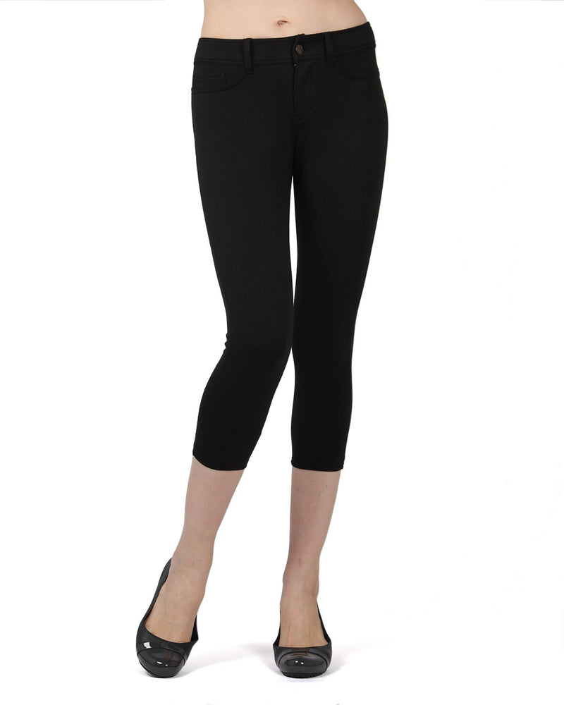 Memoi Black (3) Light Ponte Capri Leggings | Women's Hosiery - Premium Capri Leggings