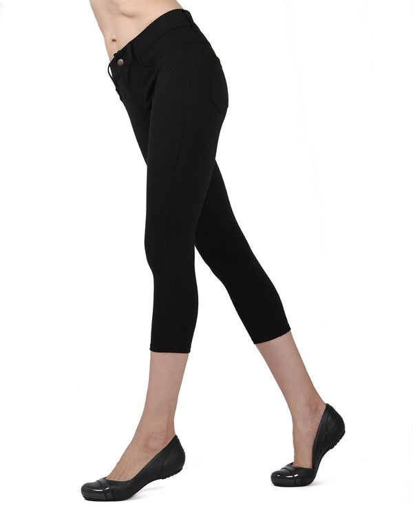 Memoi Black Light Ponte Capri Leggings | Women's Hosiery - Premium Capri Leggings