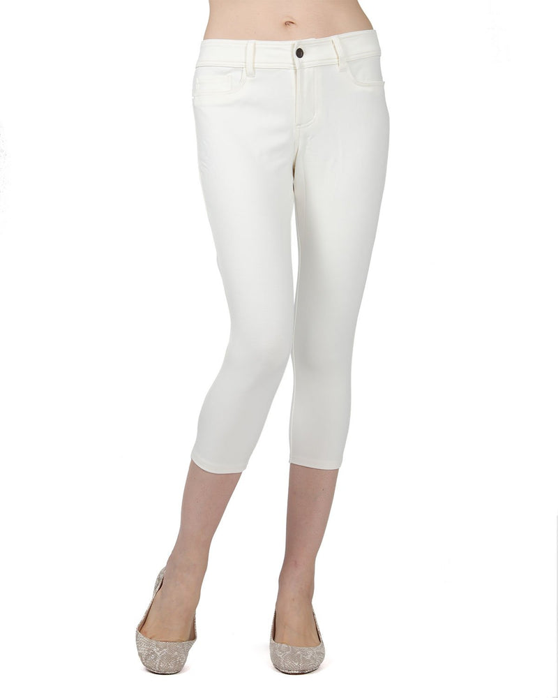 Memoi Ivory (3) Light Ponte Capri Leggings | Women's Hosiery - Premium Capri Leggings