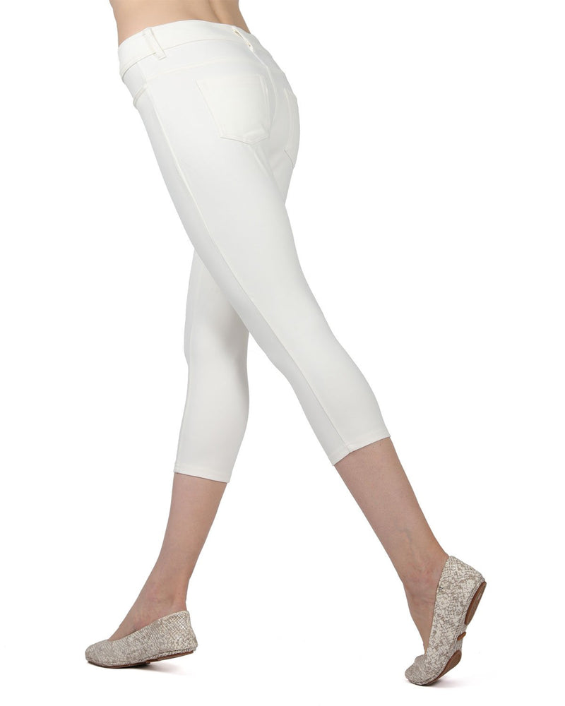Memoi Ivory (2) Light Ponte Capri Leggings | Women's Hosiery - Premium Capri Leggings