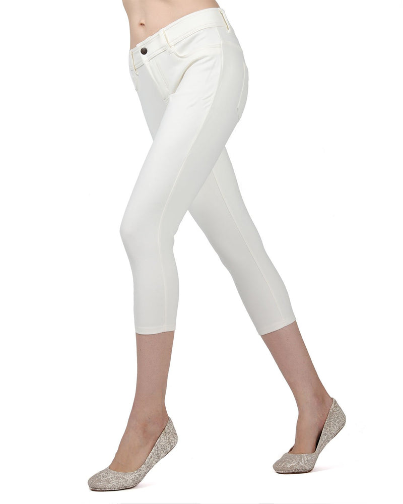 Memoi Ivory Light Ponte Capri Leggings | Women's Hosiery - Premium Capri Leggings