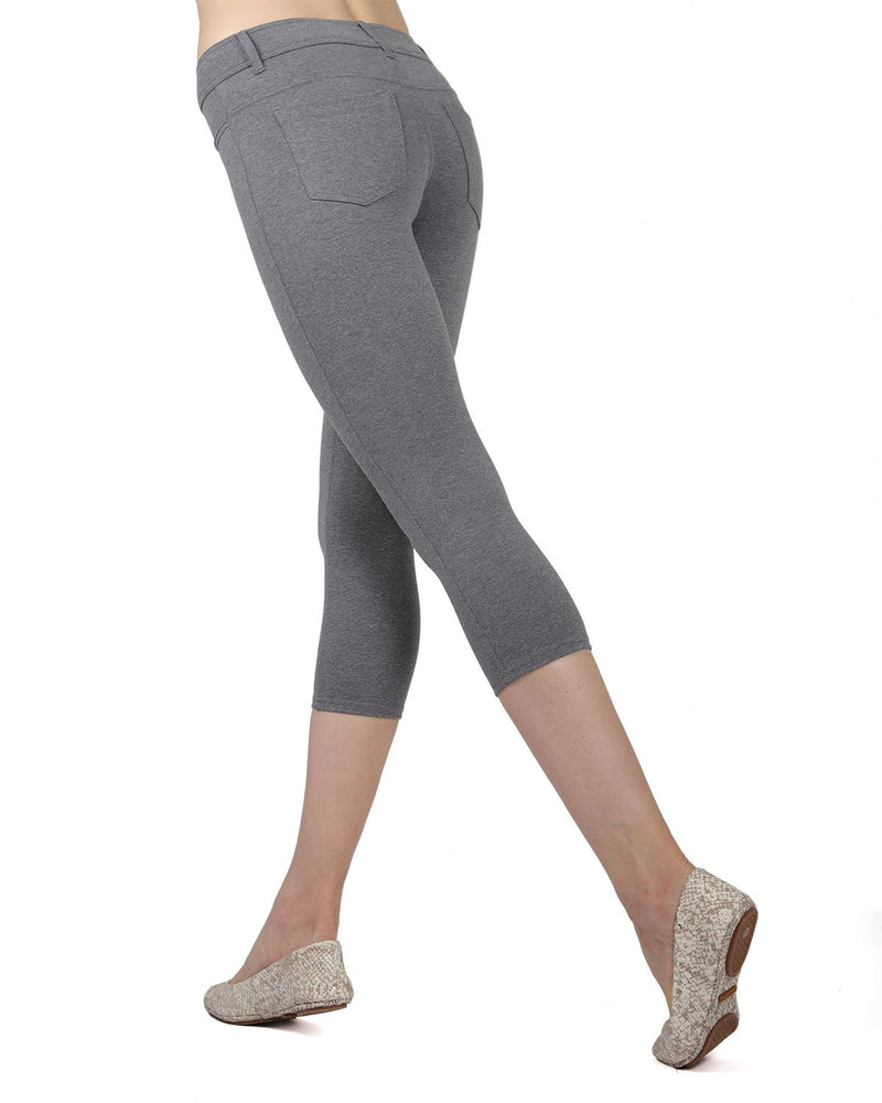 Memoi Med Gray Heather (2) Light Ponte Capri Leggings | Women's Hosiery - Premium Capri Leggings
