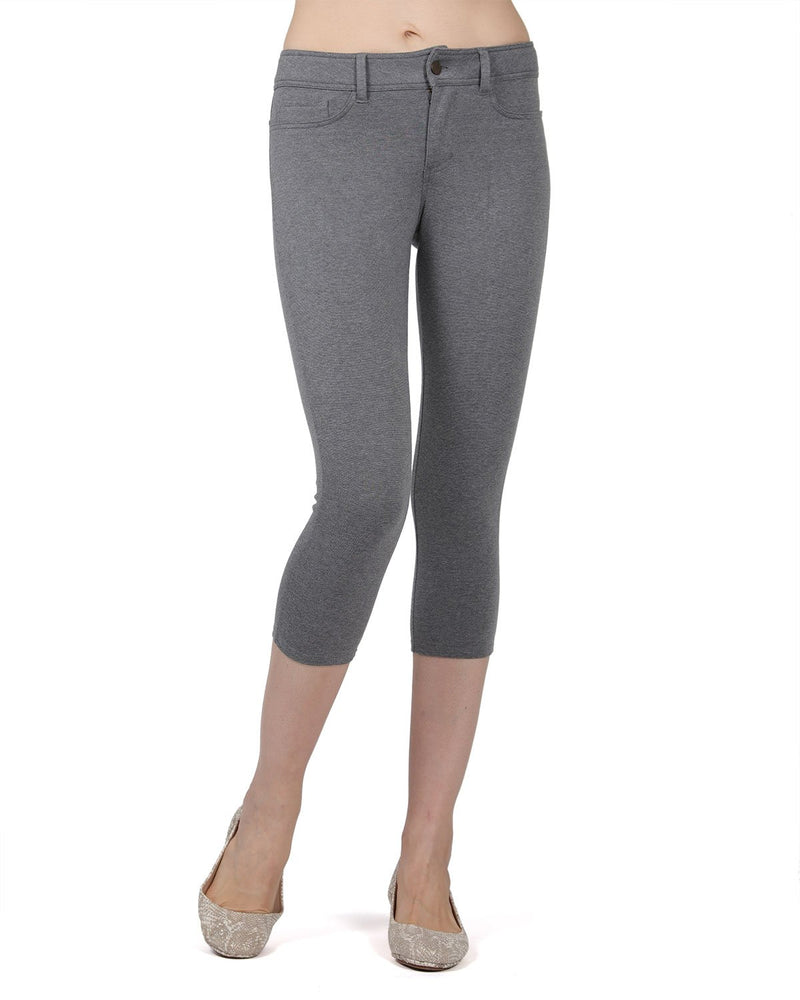 Memoi Med Gray Heather (3) Light Ponte Capri Leggings | Women's Hosiery - Premium Capri Leggings