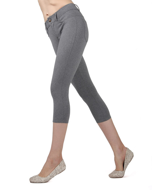 Memoi Med Gray Heather Light Ponte Capri Leggings | Women's Hosiery - Premium Capri Leggings