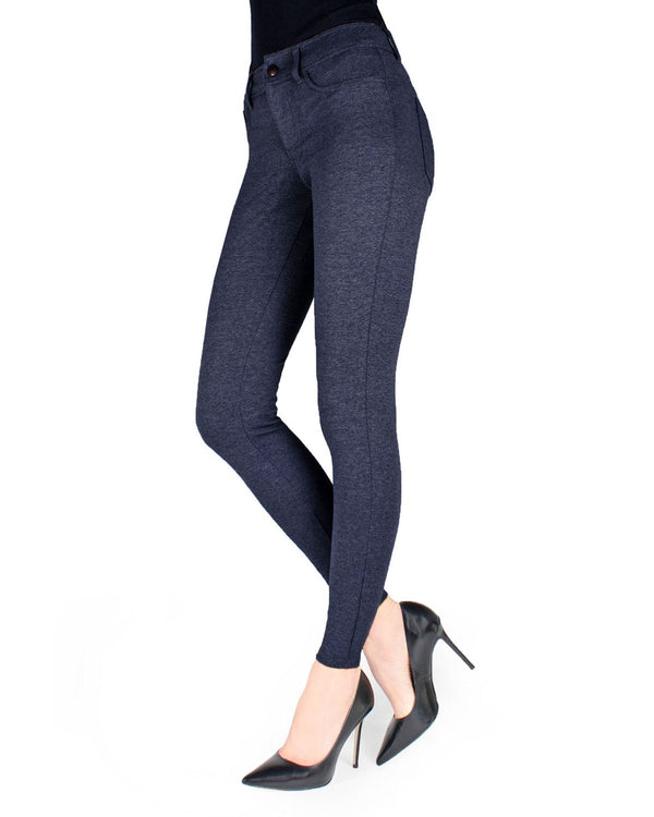 Ponte Style Leggings | Women's Basic Fashion Ponte Leggings | Navy MQ-014