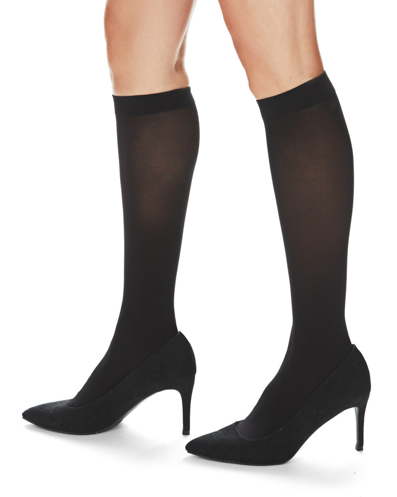 MeMoi Microfiber Opaque Knee High Stockings