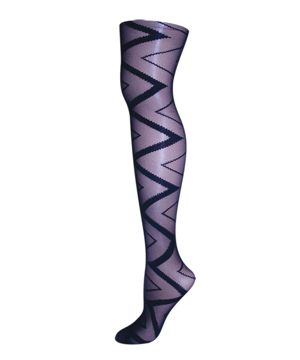 Zig Zag Sheer Tights - MeMoi - 1