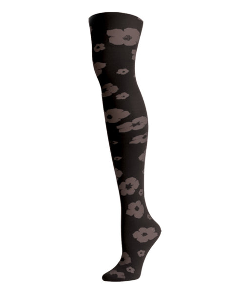 Flocked Floral Tights - MeMoi - 1