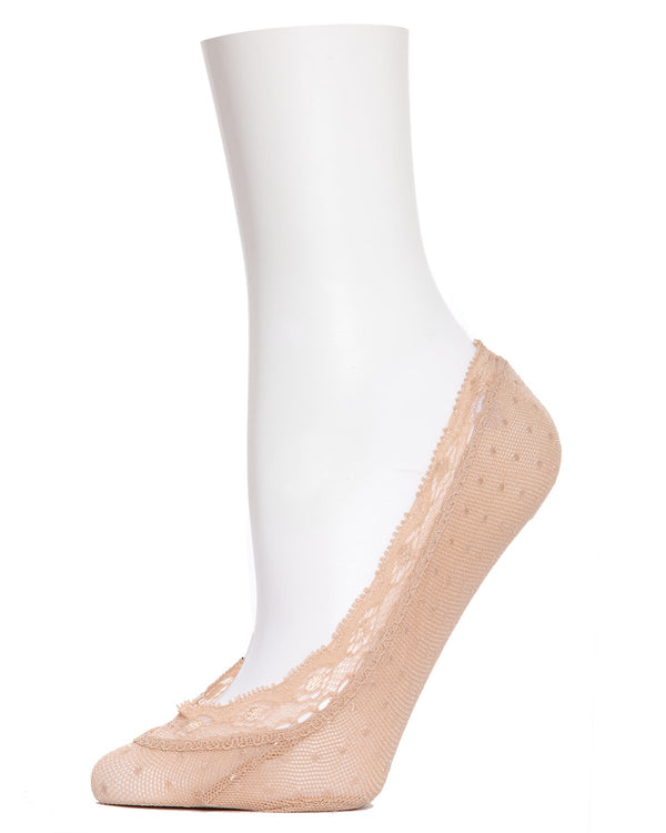 MeMoi Dotted Lace Liner Socks | Women's no-show Foot Liners | wormens clothing |   Nude MS1-302