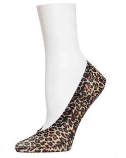 MeMoi Leopard Print Foot Liners | Women's Foot Liner Socks | Black MS1-318