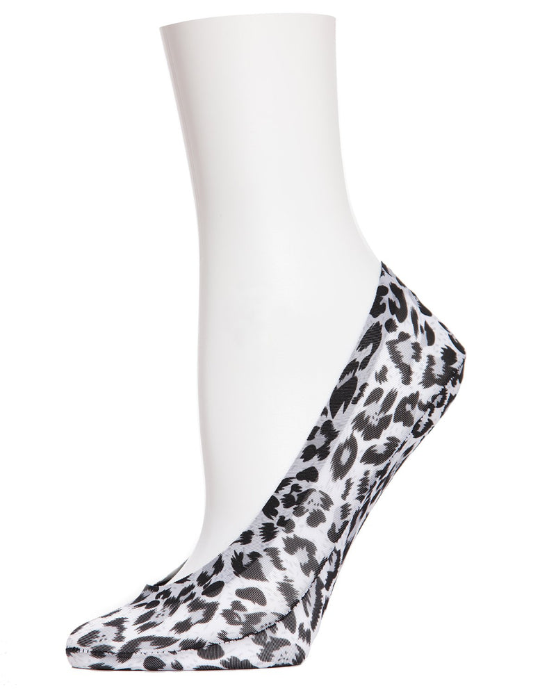 MeMoi Leopard Print Foot Liners | Women's Foot Liner Socks | Natural MS1-318