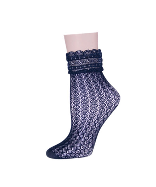 Diamond Floral Lace Women's Ankle Socks - MeMoi - 1