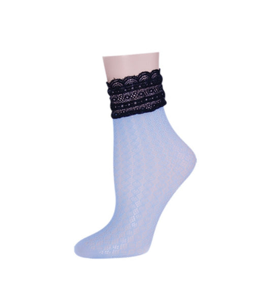 Diamond Floral Lace Women's Ankle Socks - MeMoi - 2