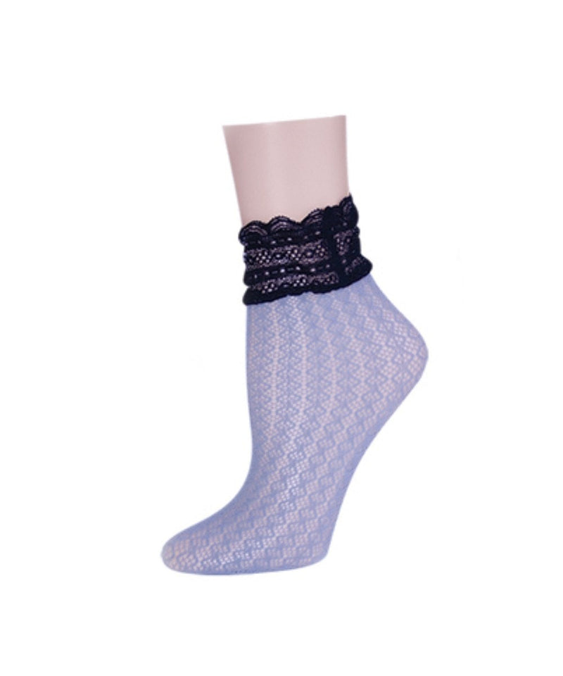 MeMoi Diamond Floral Lace Ankle Socks