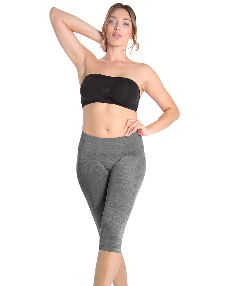 High Waist Capri Shaper | SlimMe by MeMoi Shapewear | Best tummy control shapewear | MSM-109 Black Spacedye 1