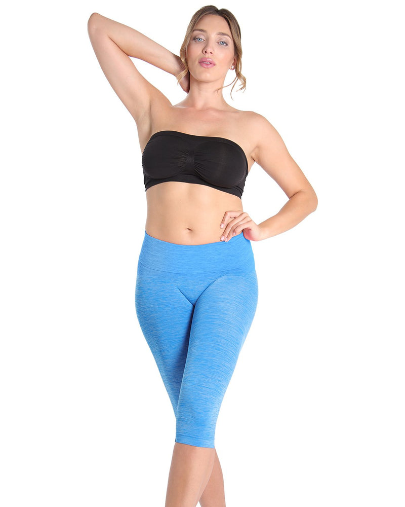High Waist Capri Shaper | SlimMe by MeMoi Shapewear | Best tummy control shapewear | MSM-109  Directorie Blue 1