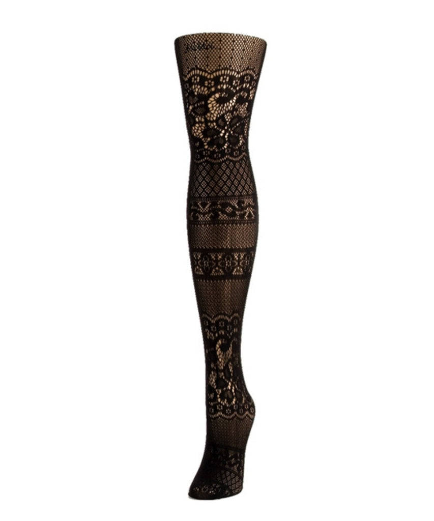Floral Patch Net Tights - MeMoi - 1