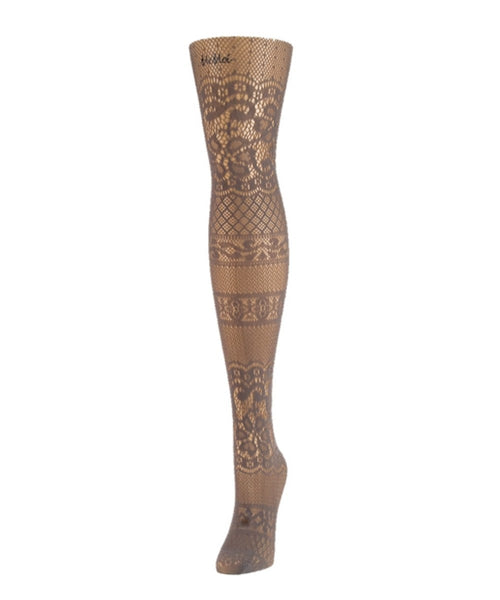 Floral Patch Net Tights - MeMoi - 2