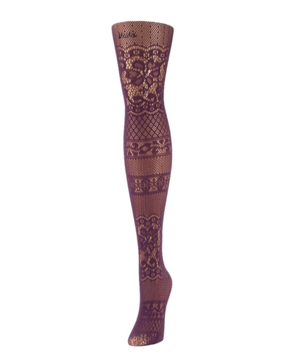 Floral Patch Net Tights - MeMoi - 3