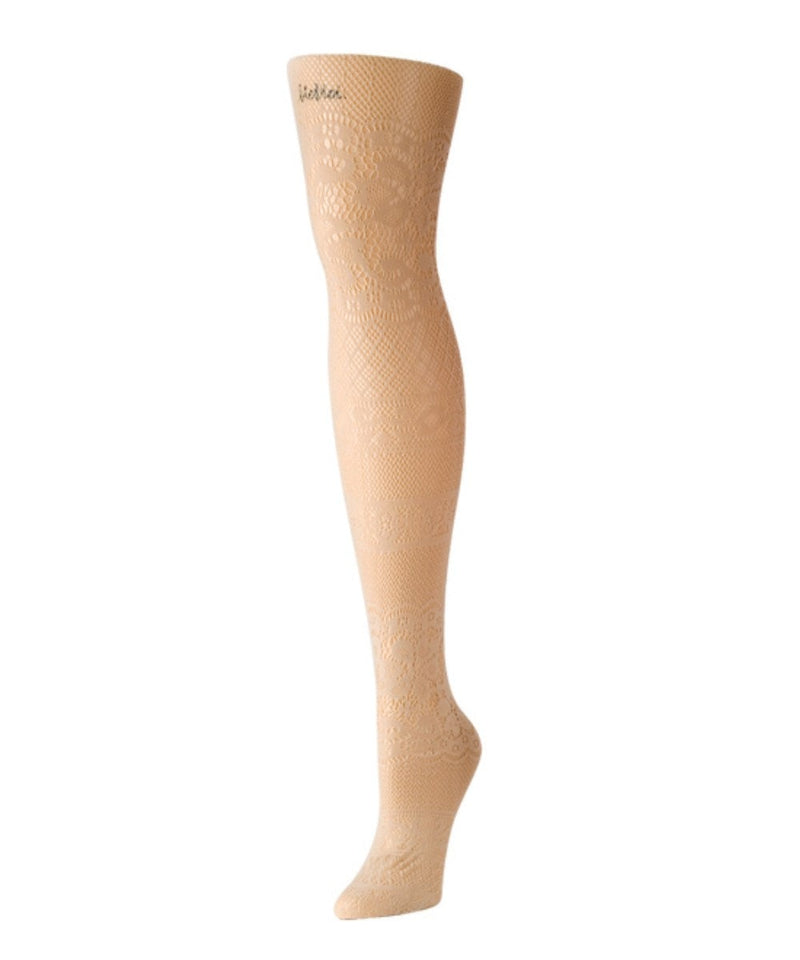 Floral Patch Net Tights - MeMoi - 4