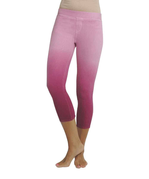 Beautiful Women's Raspberry Gradient Chino Capri Legging - MeMoi