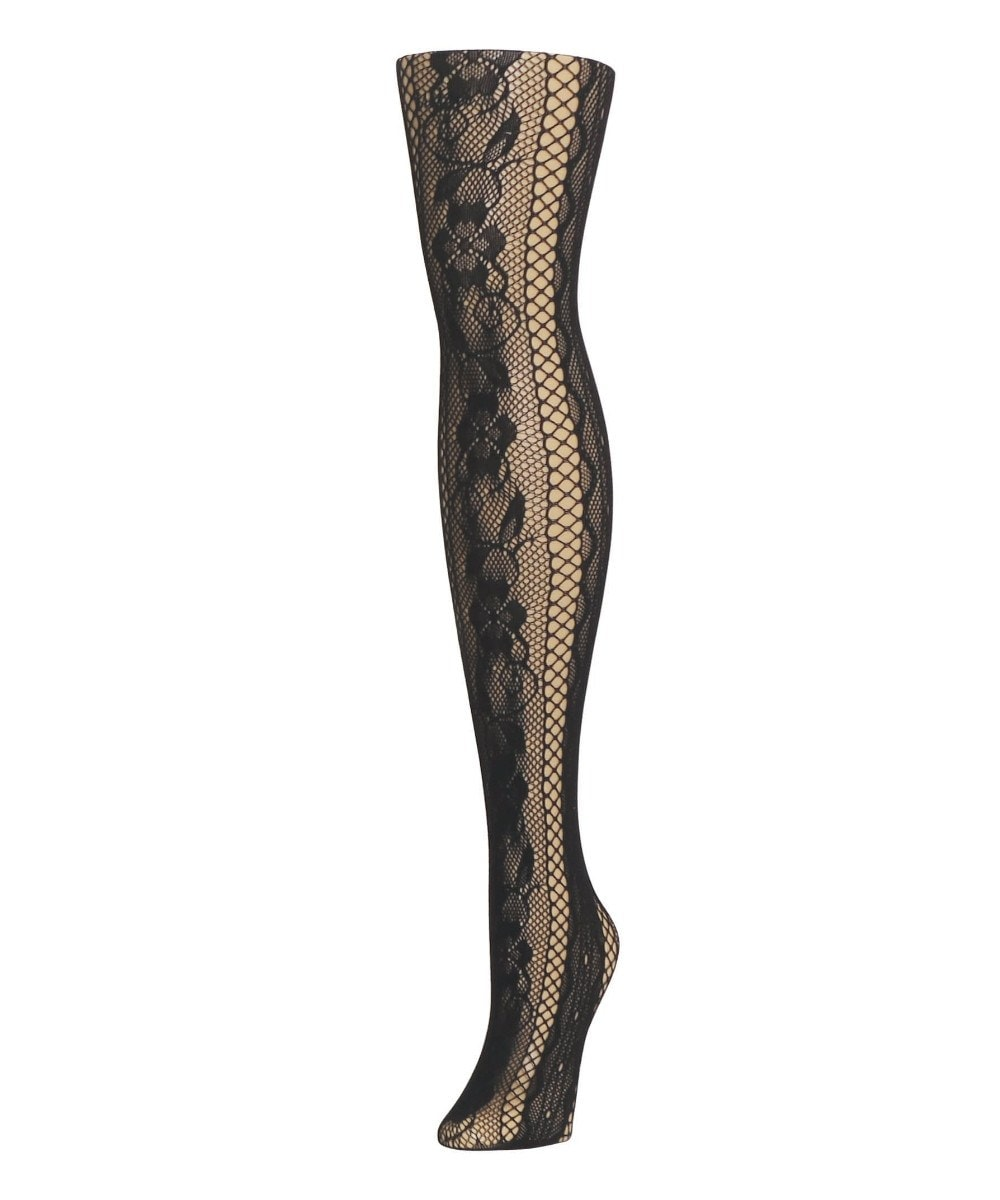 Linear Floral Net Tights - MeMoi - 1