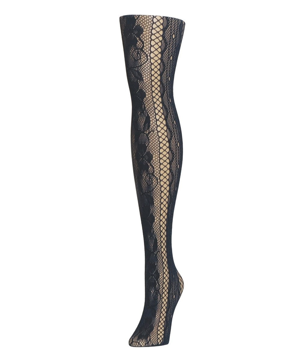 Linear Floral Net Tights - MeMoi - 2