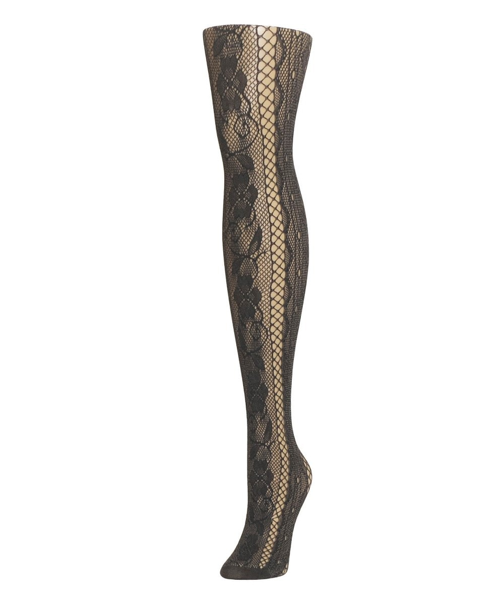 Linear Floral Net Tights - MeMoi - 3