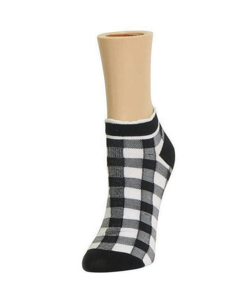 Checkerboard Soft-Fit Cotton-Rich Low Cut Hsppy Sock - MeMoi