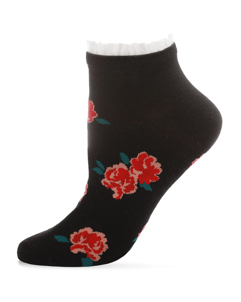 Ruffle Rose Cotton Blend Low Cut Socks