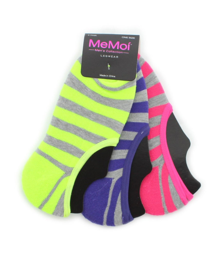 Striped Half Cushioned Sock Liners (3 Pairs) - MeMoi