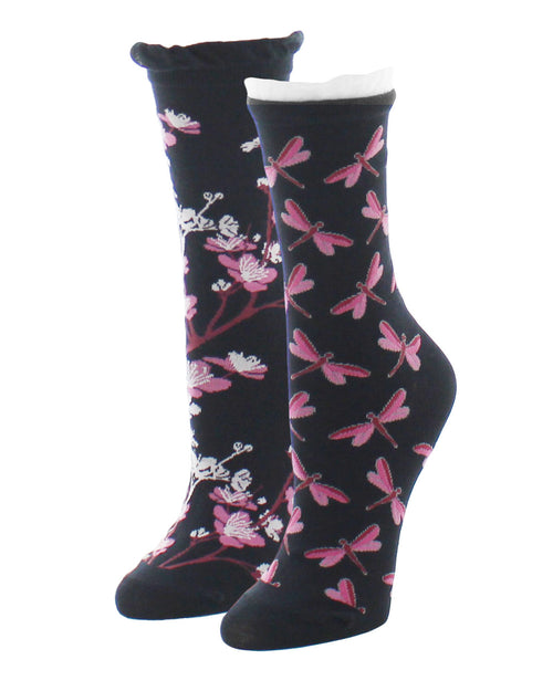 Dragonfly & Floral 2 Pair Pack Crew Socks