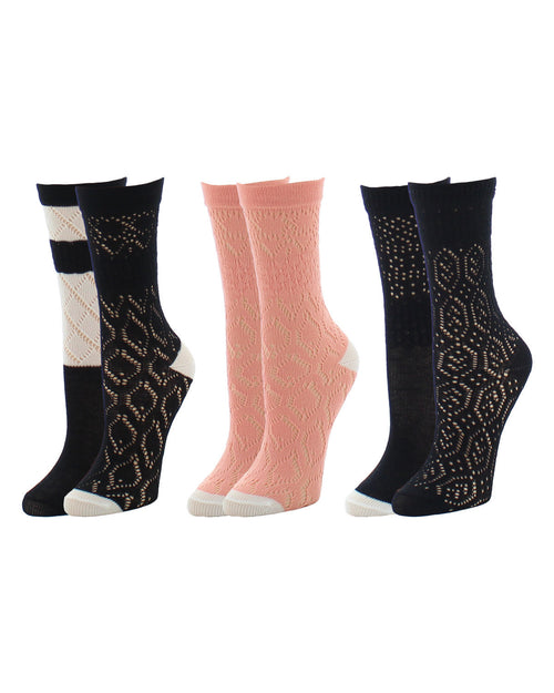 Open Knit Cotton Blend 2 Pair Pack Spring Crew Socks