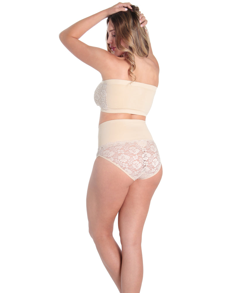 MeMoi High Waist Lace Shaping Panties | Women's Sexy Lace Shapewear Collection (Rear) | Nude MSC-101