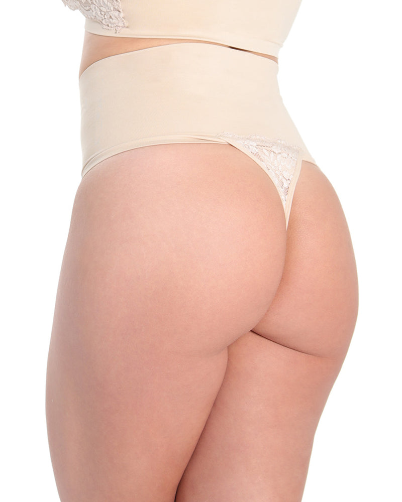 MeMoi High Waisted Lace Shaping Thong | Women's Sexy Shapewear Collection (Rear) Clothing | Nude MSC-104