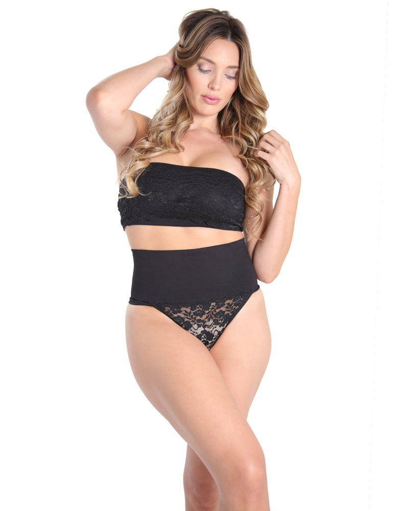 MeMoi High Waisted Lace Shaping Thong | Women's Sexy Shapewear Collection - Clothing | Black MSC-104