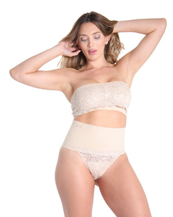 7d18bbdebba MeMoi High Waisted Lace Shaping Thong, Womens Sexy Shapewear