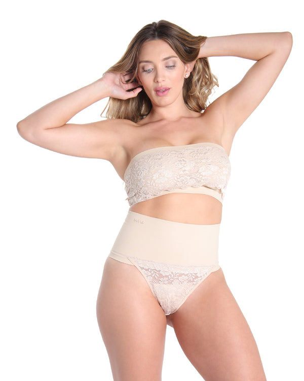 MeMoi High Waisted Lace Shaping Thong | Women's Sexy Shapewear Collection (Front) | Nude MSC-104
