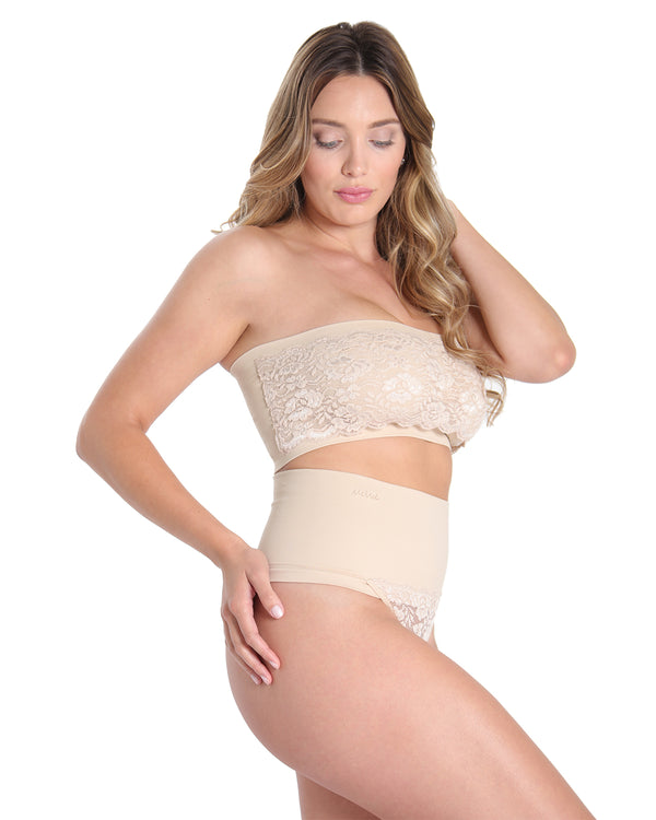 MeMoi High Waisted Lace Shaping Thong | Women's Sexy Shapewear Collection (Side) | Nude MSC-104