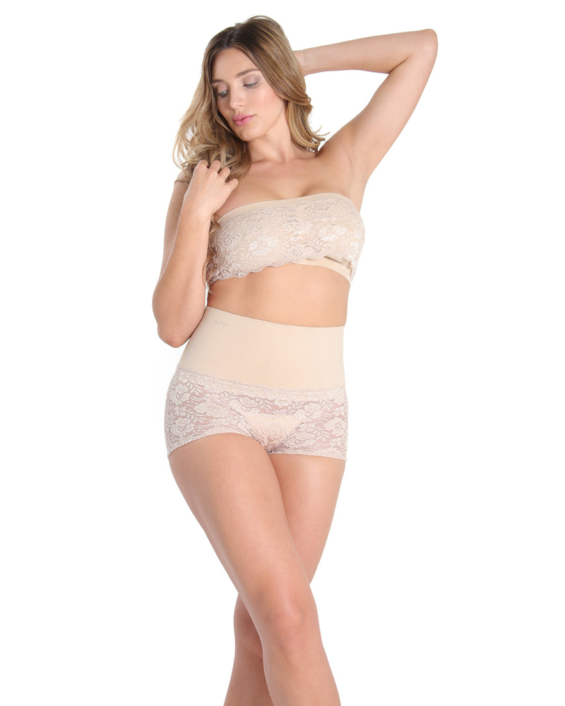MeMoi High Waisted Shaping Lace Boyshorts | Women's Sexy Lace Shapewear Collection | Nude MSC-105
