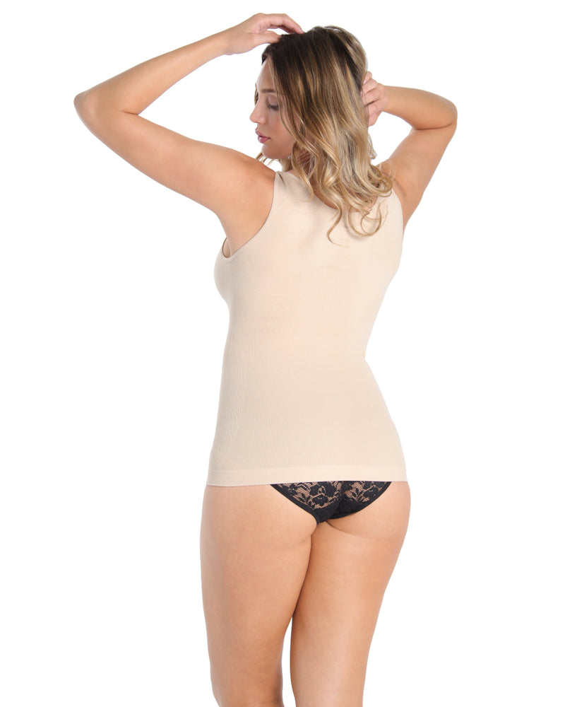 MeMoi Wireless Shaping Tank | Women's Sexy Shapewear Collection (Rear) | Nude MSC-117