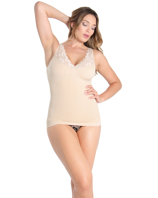 MeMoi Wireless Shaping Tank | Women's Sexy Shapewear Collection (Front) | Nude MSC-117