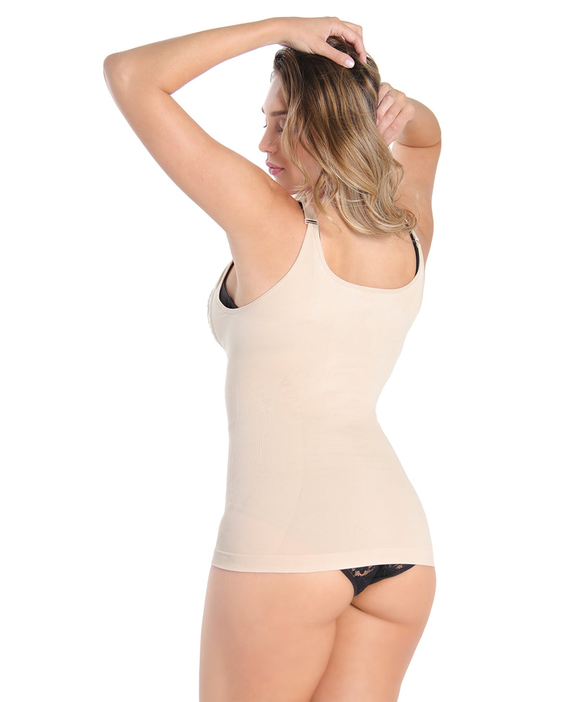MeMoi Open Shaping Cami | Women's Sexy Lace Camisole Shapewear Collection (Rear) | Nude MSC-133