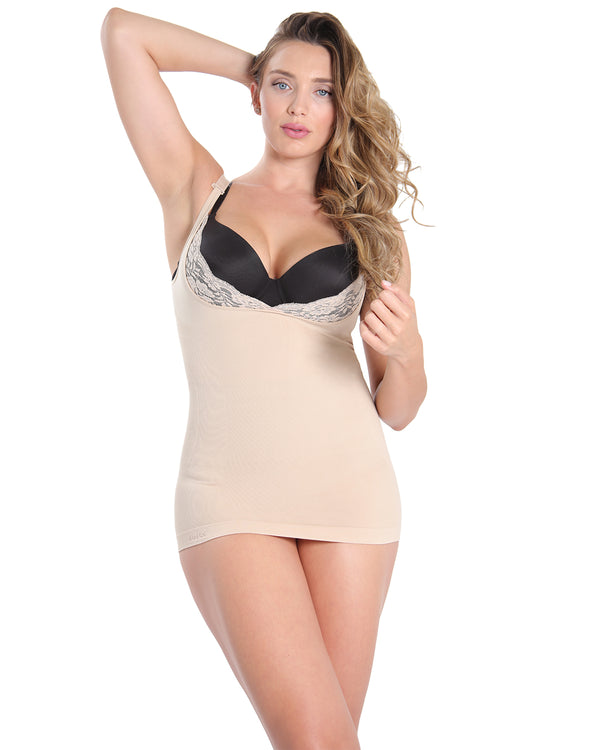 MeMoi Open Shaping Cami | Women's Sexy Lace Camisole Shapewear Collection (Front) | Nude MSC-133
