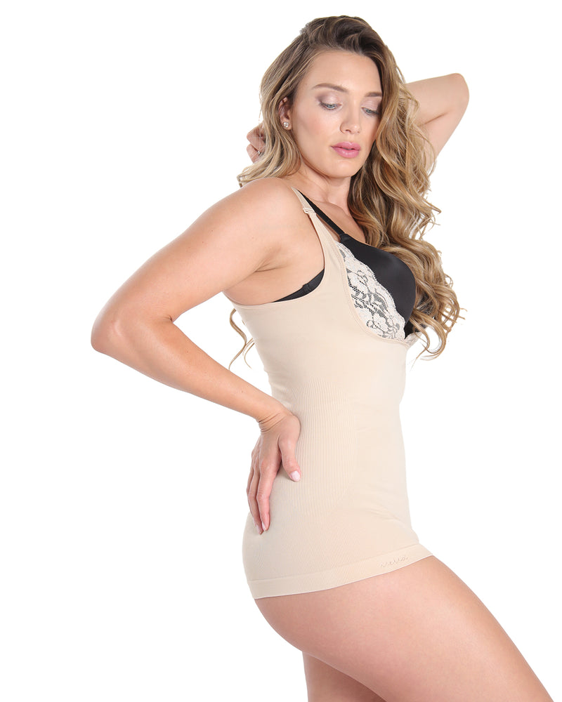 MeMoi Open Shaping Cami | Women's Sexy Lace Camisole Shapewear Collection (Side) | Nude MSC-133