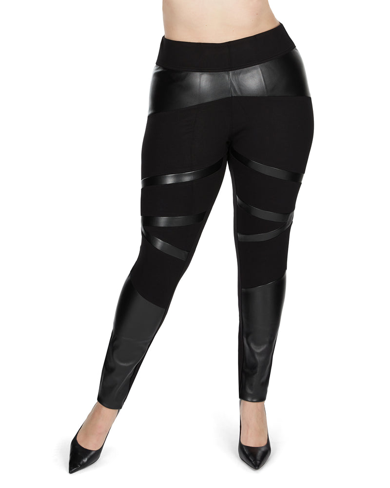 Sexy Moto Pleather Accent Shaping Leggings