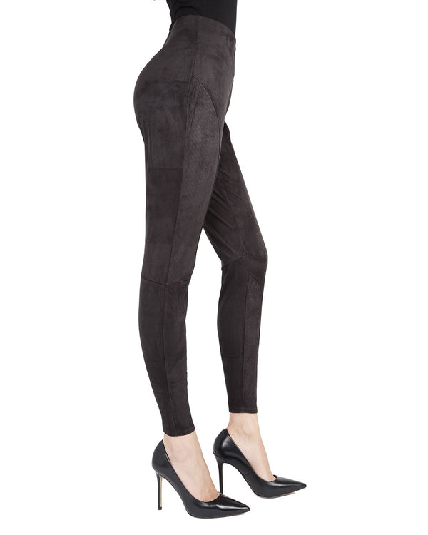 Memoi Black Vegan suede Shaping Legging | Women's Premium Shaping Vegan Leather Leggings